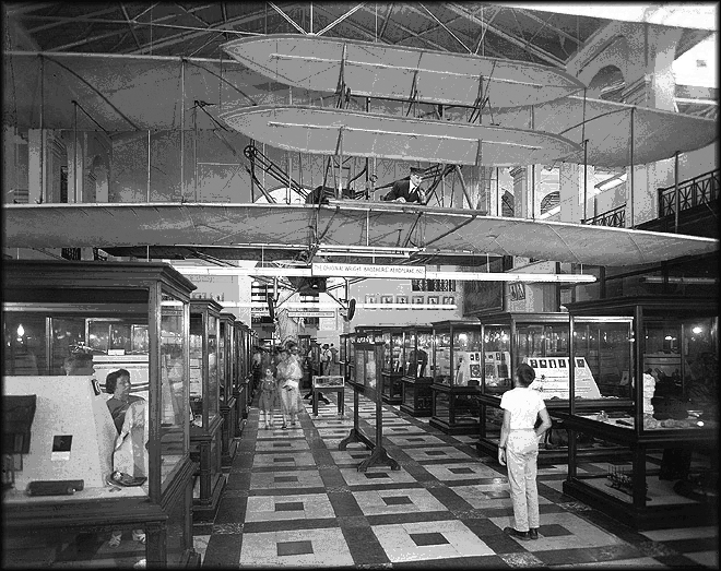 The Wright Brothers plane on exhibit at the Smithsonian Arts & Industries Building